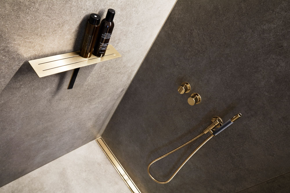 UNIDRAIN Interior incl line-drain-and-soap-shelf brass